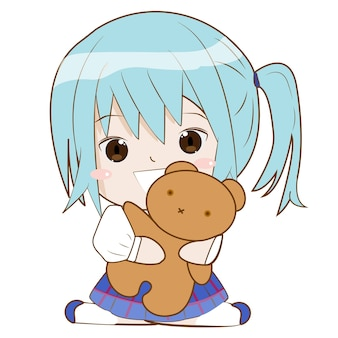 귀여운 캐릭터 소녀는 행복한 얼굴로 곰 인형을 개최
