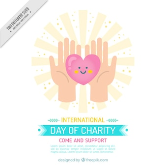 Cute charity background of hands holding a nice heart