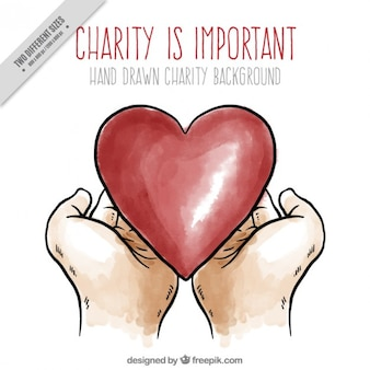 Cute charity background with drawings of hands and heart