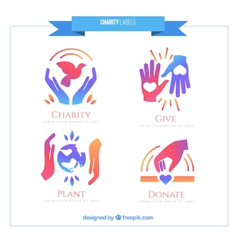 Cute charity labels set