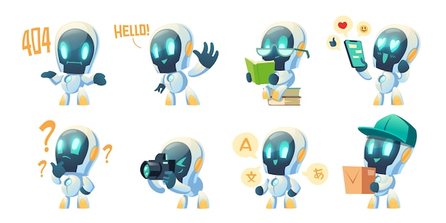 Cute chat bot cartoon, conversation robot
