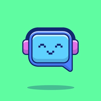 Cute chat robot cartoon vector icon illustration. techology robot icon concept isolated premium vector. flat cartoon style