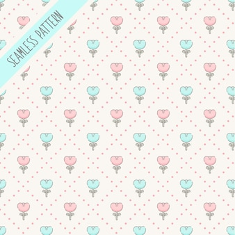 Cute checkered and floral seamless pattern