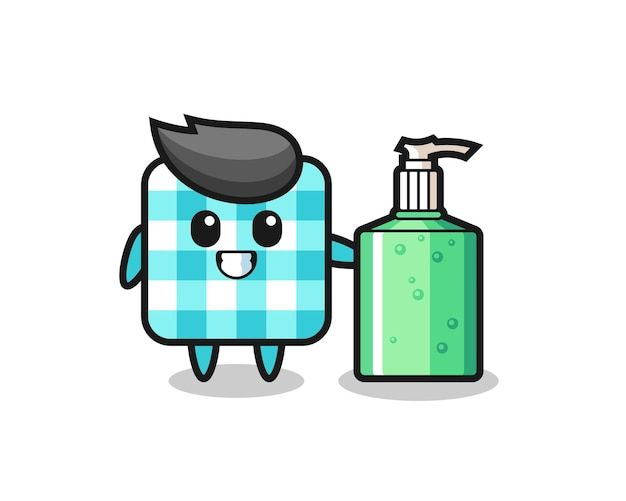 Cute checkered tablecloth cartoon with hand sanitizer , cute style design for t shirt, sticker, logo element