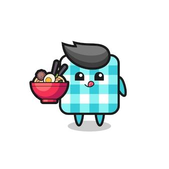 麺を食べるかわいい市松模様のテーブルクロスのキャラクター、tシャツ、ステッカー、ロゴ要素のかわいいスタイルのデザイン