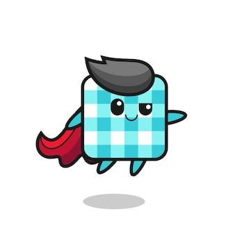 귀여운 체크무늬 식탁보 슈퍼히어로 캐릭터가 날고 있고, 티셔츠, 스티커, 로고 요소를 위한 귀여운 스타일 디자인