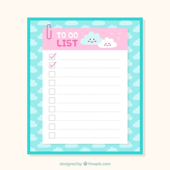 Cute checklist template with clouds in flat design