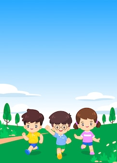Cute cheerful children run on green meadow and blue sky with copyspace
