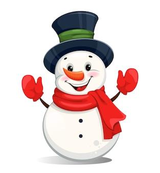 Милый веселый рождественский снеговик. забавный мультипликационный персонаж снеговика