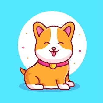 Cute and cheerful corgi dog pet animal logo vector icon illustration in flat style