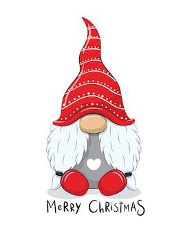 Милый веселый гном с фразой «с рождеством».