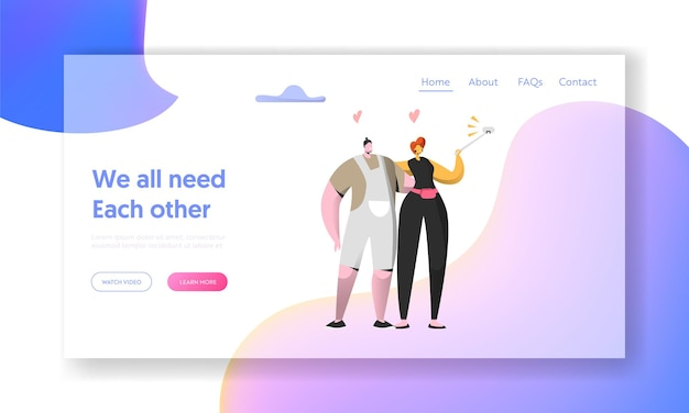 Cute cheerful man and woman take selfie together landing page.