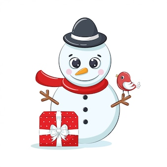 Cute cheerful snowmen with gift box and bird.