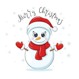 「メリークリスマス」のフレーズでかわいい陽気な雪だるま。