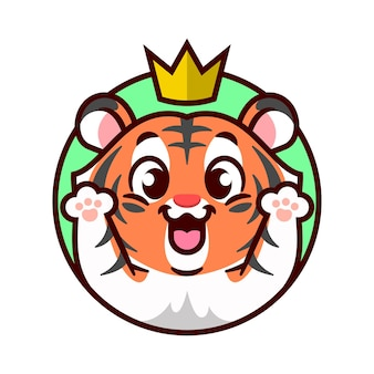 Cute cheerful tiger with a golden crown on his head is rising up his hand cartoon mascot