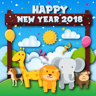 Cute cheerful zoo animal theme happy new year 2018 paper art card illustration