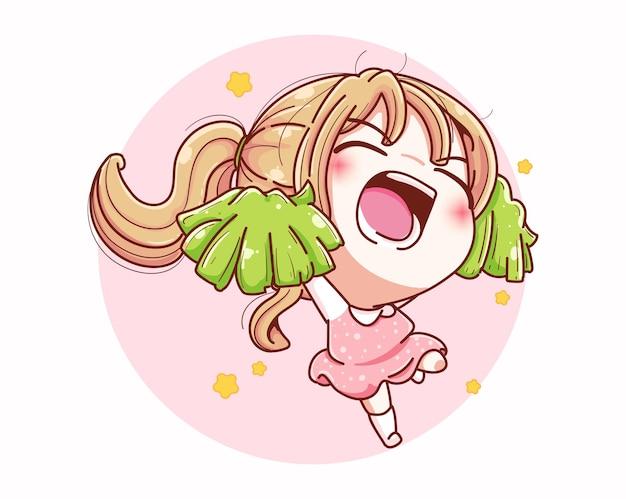 귀여운 치어 리더 소녀는 행복하고 만화 캐릭터 디자인으로 응원합니다.