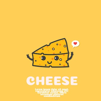 Cute cheese cartoon vector. kawaii food concept.