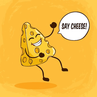 Cute cheese character with funny face or expression and say cheese lettering on orange