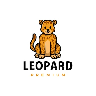 Cute cheetah leopard cartoon logo  icon illustration