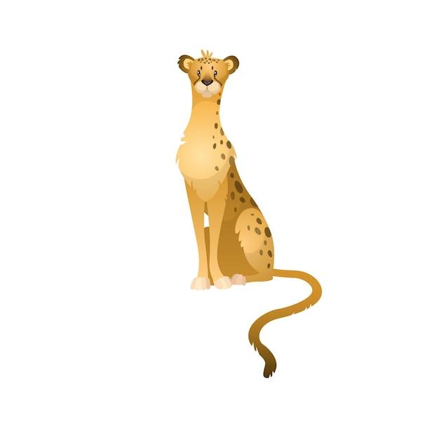 Милый гепард, леопард или ягуар. природа тропических джунглей печать диких животных, векторная иллюстрация сафари африки