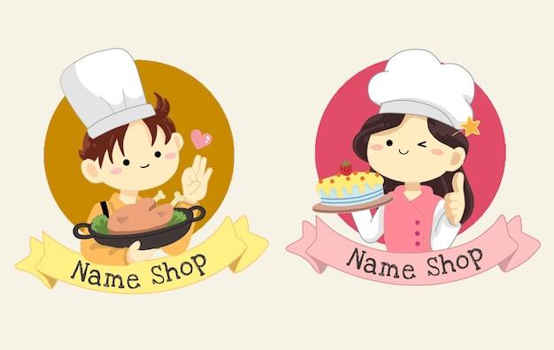 로고가 게 만화 그림에 대 한 귀여운 요리사 소년과 소녀