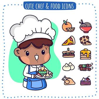 Симпатичный мальчик-повар и icon foods