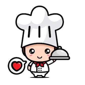 귀여운 요리사 소년 캐릭터 디자인