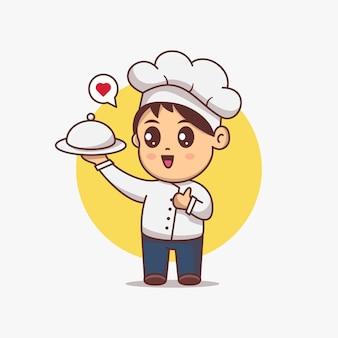 귀여운 요리사 소년 봉사 음식 벡터 일러스트 레이 션. 귀여운 만화 캐릭터. 레스토랑 컨셉의 마스코트 또는 로고
