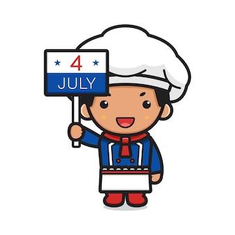 7월 4일 기호 그림을 들고 있는 귀여운 요리사 만화