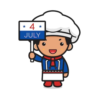 Cute chef cartoon holding a fourth of july sign illustration
