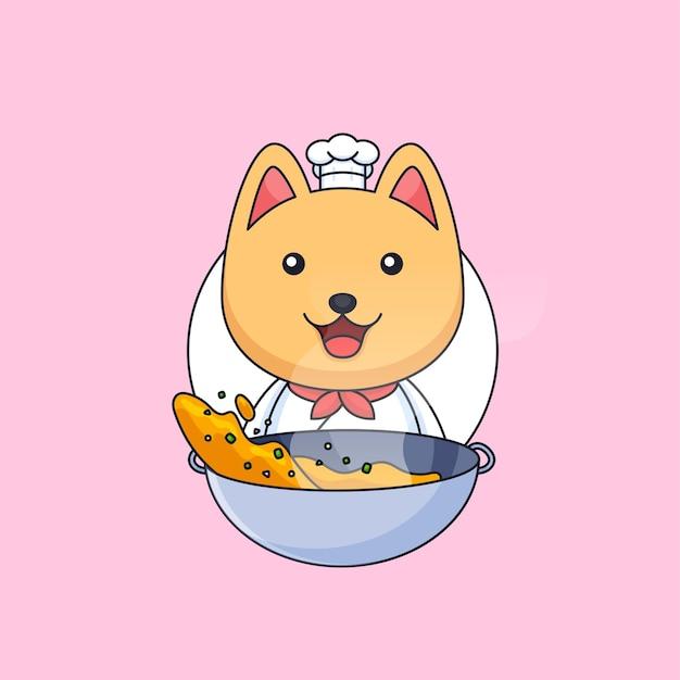 귀여운 요리사 고양이 요리 거리 음식 사용 프라이팬 동물 마스코트 만화 벡터 일러스트 레이 션