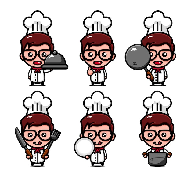 Cute chef character design set with cooking equipment