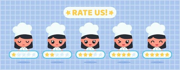 레스토랑 서비스에 대한 고객 만족도 조사를 위해 별표를 들고 있는 귀여운 요리사 캐릭터