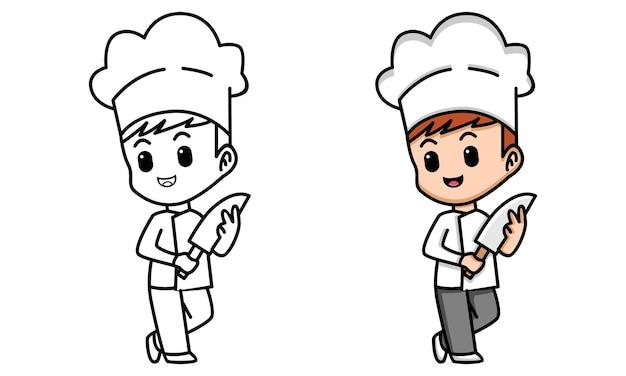 Раскраска милый повар для детей