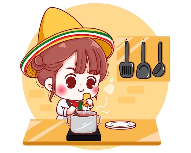メキシコの自宅のキッチンで料理をするかわいいシェフ漫画のキャラクターイラスト
