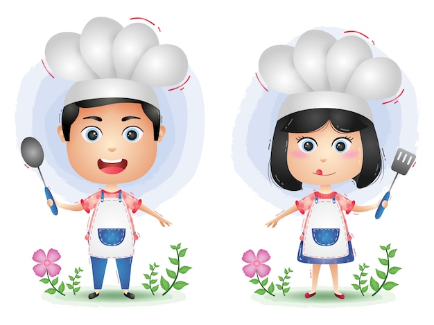 Симпатичные шеф-повар пара символов мультфильм вектор