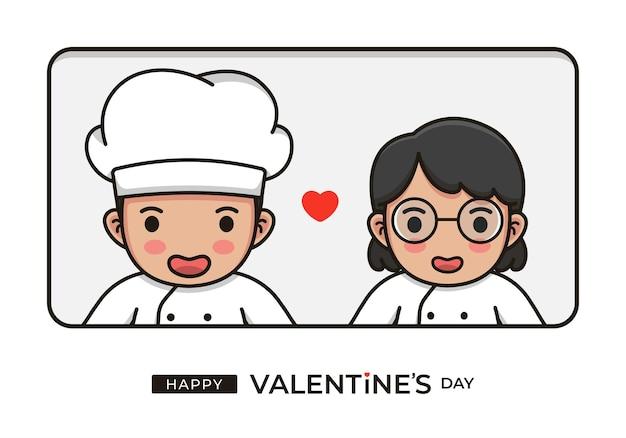 幸せなバレンタインデーの挨拶とかわいいシェフのカップル