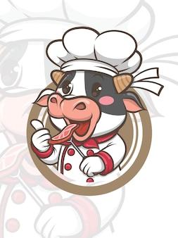 グリルステーキを保持しているかわいいシェフの牛の漫画のキャラクター-マスコットとイラスト