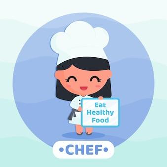 텍스트 배너 만화 캐릭터 개념을 들고 캠페인 건강식을 하는 귀여운 요리사