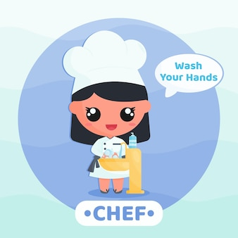 바이러스 만화 캐릭터 개념을 방지하기 위해 손 씻기 캠페인을 하는 귀여운 요리사
