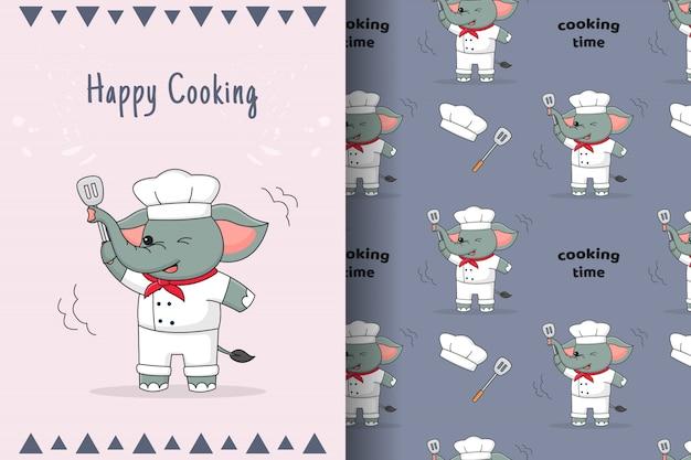 귀여운 요리사 코끼리 원활한 패턴 및 카드