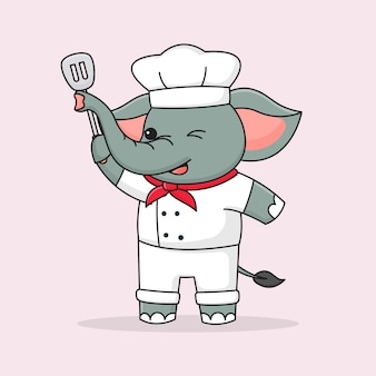 귀여운 요리사 코끼리