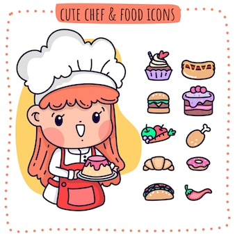 Cute chef and food icons