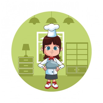Cute chef girl cartoon