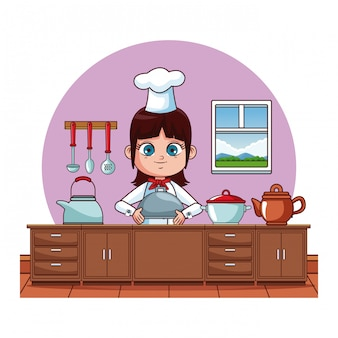Cute chef girl cooking at kitchen cartoon
