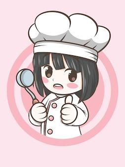 국자 수프-요리사 만화를 들고 귀여운 요리사 소녀