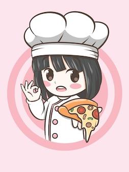 ピザを持っているかわいいシェフの女の子-シェフの漫画
