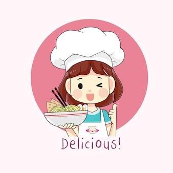 국수 만화 그림의 그릇을 들고 귀여운 요리사 소녀