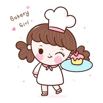 Милая девушка шеф-повара держит кекс мультфильм каваи